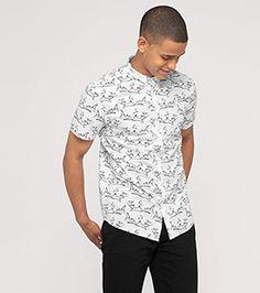 SS16 Kurzärmliges Baumwollhemd in der Farbe weiß bei C&A