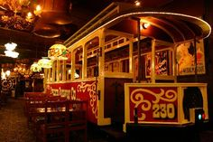 The trolley at The Old Spaghetti Factory, Downtown Denver.