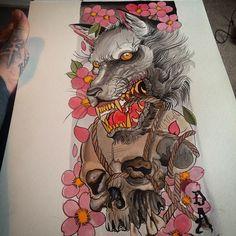 Getting back into the swing of painting #tattoo#tattoos#tattooart#tattoopainting#wolf#wolftattoo#japaneseart#japanesetattoo#orientalart#orientaltattoo#asianart#asiantattoo#skull#skulltattoo#cherryblossomtattoo#