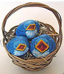 Painted Rock Baby Bluebirds (Painted Rocks by Cindy Thomas) Tags: rockpainting paintedrocks paintedrockbirds paintedrockcritters