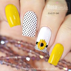 Latest Nail Designs, Cute Nail Art Designs, Sunflower Nails, Acryl Nails, Short Gel Nails, Red Acrylic Nails, Magic Nails, Dream Nails, Yellow Nails