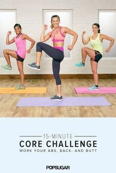 This quick core challenge works your abs from all angles and targets the back and glutes, too. Get ready to feel the burn in your core, which we think is a great thing. Fitness Workouts, Lower Ab Workouts, Butt Workout, At Home Workouts, Fitness Tips, Fitness Motivation, Fit Sugar Workouts, Hard Workout, Core Challenge
