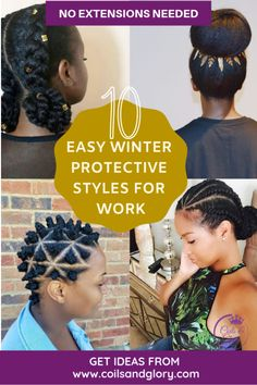 10 Easy Natural Hair Winter Protective Hairstyles For Work Without Extensions Natural Hair winter protective styles for work. Natural Hair Care Tips, Natural Hair Growth, Natural Hair Styles, Protective Styles For Natural Hair Short, Work Hairstyles, Winter Hairstyles, Black Hairstyles, Hairstyles Videos, Unique Hairstyles