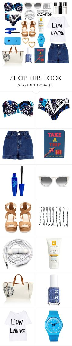 """""""Tropical Vacation"""" by pimkielipstick ❤ liked on Polyvore featuring River Island, Chanel, Jonathan Adler, Maybelline, TOMS, Pull&Bear, BOBBY, Urbanears, La Roche-Posay and Heidi Klein"""