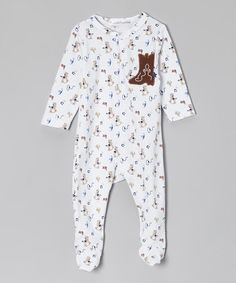 Take a look at this White & Brown Cowboy Footie - Infant by Rumble Tumble on #zulily today!