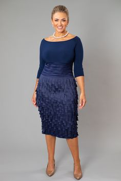 Navy Blue Dresses with sleeves for the Mother of the Bride / Groom - Mother Of Groom Dresses, Bride Groom Dress, Groom Outfit, Mother Of The Bride, Navy Blue Party Dress, Navy Cocktail Dress, Beautiful Cocktail Dresses, Blue Dress With Sleeves, Cocktail Dresses With Sleeves