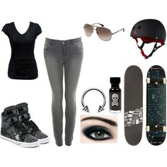 Hot punk skateboarding outfit ...I don't skateboard...but I like the look(: