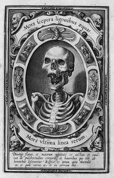 """Mors sceptra ligonibus aequat """"Death makes scepters and hoes equal."""" Mors vltima linea rerum """"Death, the final boundary of things."""" Flemish, c. 1570."""