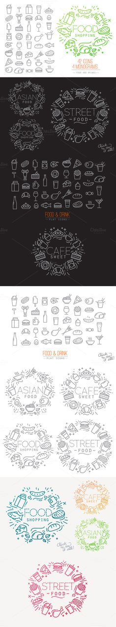Flat Food Icons by Anna on Creative Market