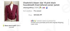 Chadwick's of Boston blazer $2 at thrift store sold for $32.97  Free tips for eBay sellers