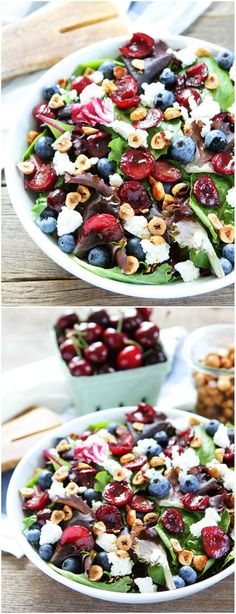 Balsamic Grilled Cherry, Blueberry, Goat Cheese, and Candied Hazelnut Salad on twopeasandtheirpod.com Mixed salad greens topped with balsamic grilled cherries, blueberries, goat cheese, and candied hazelnuts. This fruity and flavorful salad is a must make for summertime.