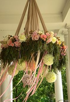floral chandeliers are amazing and Martha has a great DIY instruction video http://www.marthastewartweddings.com/article/floral-chandelier