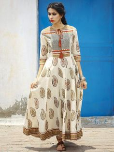 Beige Brown Maroon Black Hand Block Printed Long Cotton Dress With Gather & Tassels - DS02F001