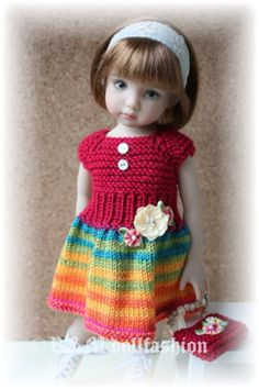 "OOAK Hand-knit outfit by R&M DOLLFASHION - FALL LINE for Dianna Effner 13""dolls"