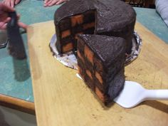 Choc-Orange Checkerboard Cake  http://gabo.ninemsn.com.au/recipes/2013/07/09/20/08/checkerboard-cake-recipe  This is the cake that my sister, mother and I made for my dad for Father's Day. It took six hours but man was it worth it.