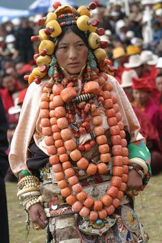 Ornaments make up most of the life savings of many Khampa families, and so play an important role in Tibetan families' lives as well as in announcing the social status of the wearers.