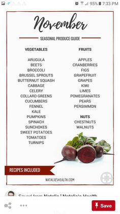 healthy snacks - Seasonal Produce Guide Eat seasonally November's guide to fruits and vegetables, plus seasonal recipes Vegan Nutrition, Proper Nutrition, Nutrition Chart, Smart Nutrition, Nutrition Guide, Nutrition Education, In Season Produce, Fruit In Season, Fruit Season Chart