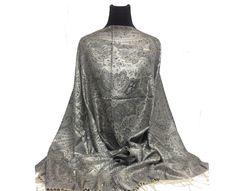 100% Silk-Shawl-Premuim-Pashmina-shawl-Scarf-Paisley-Wrap-Soft-Warm-Reversible-wedding-bridal-bride-black-grey-silver-pewter-creme-off white by PashminaaCollection on Etsy