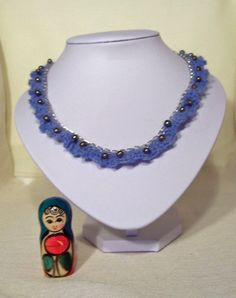 Handcrocheted Necklace Crochet Freshwater Pearls by evefashion, $25.00