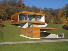 Design de casas modernas: Minihaus, architekturbox ZT GmbH - HOMES - Arquitetura Cultural Container House Design, Tiny House Design, Modern House Design, Haus Am Hang, Modern Minimalist House, Hillside House, Casas Containers, Glass House, Modern Architecture