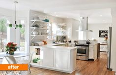 GREAT before and after post!!! // Before & After: Kim's Bright and White Kitchen Update | Apartment Therapy