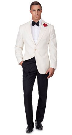 "Ivory Dinner Jacket & Dress Pants from Oliver Wicks ""Spy-Wear"" Collection. Fashion Night, Suit Fashion, Mens Fashion, Wedding Men, Wedding Suits, Wedding Jacket, Maskerade Outfit, Jacket Dress, Dress Pants"