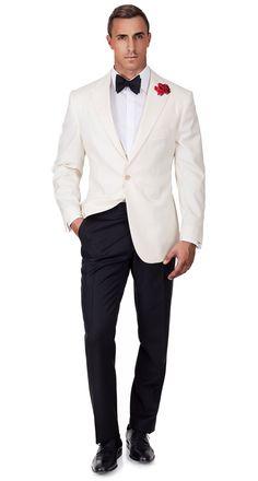 "Ivory Dinner Jacket & Dress Pants from Oliver Wicks ""Spy-Wear"" Collection. Tuxedo Wedding, Wedding Men, Wedding Suits, Wedding Jacket, Fashion Night, Suit Fashion, Mens Fashion, Mens Dress Pants, Jacket Dress"