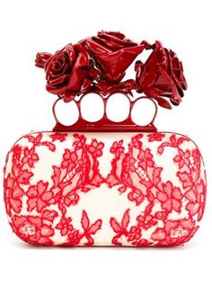 'Embroidered Dishevelled Lace' knuckle box clutch