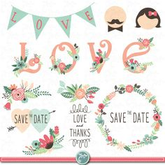 "Wedding Clipart pack ""WEDDING FLORA"" digital clip art,Vintage Flowers,Floral Frames,Wreath,Wedding invitation,Instant Download Wd005 by YenzArtHaut on Etsy"