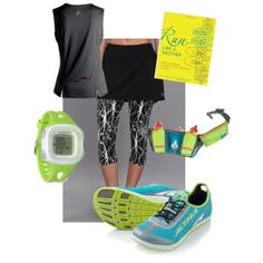 """""""Run Like a Girl"""" by jpknitknot on Polyvore @Ultimate Direction  @Skirt Sports - Convert to Skirt @Another Mother Runner @Altra Zero Drop  @ZOOMA"""