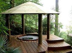 Natural Cedar Hot Tub with Gazebo Hot Tub Pergola, Patio Pergola, Casa Patio, Steel Pergola, Backyard Landscaping, Pergola Kits, Pergola Ideas, Whirlpool Pergola, Spa Jacuzzi