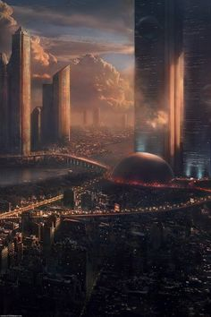Science Fiction city-the-future-skyscrapers-clouds-fantasy