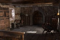 Medieval Life, Medieval Castle, Medieval Fantasy, Medieval Bedroom, Inside Castles, Castle Bedroom, Gold Skies, Anime Places, Fantasy Bedroom