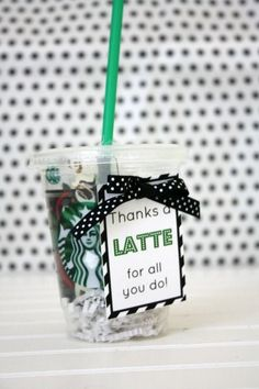 Easy Teacher Appreciation gift idea for the coffee lover in your life with a Thanks a Latte gift including a gift card to favorite coffee shop.