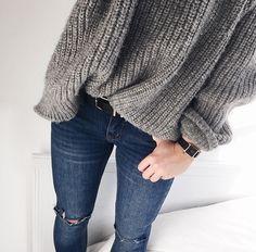 grey oversized knits