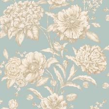 Soft Teal with Metallic Gold Detailing Large Scale Royal Floral Wallpaper
