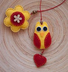 Set of two felt owl bookmarks in red and yellow. $24.00, via Etsy.