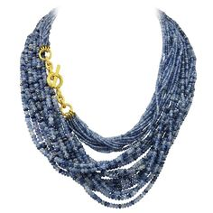 Gorgeous Virginia Witbeck, original, natural sapphire and 22K necklace. Can be worn very long or double. Thousands of carats of multi shades of blue