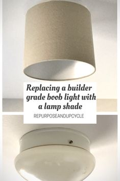 Replacing the Builder Grade Boob Light, with Little Time, Little Effort and Little to No Money. Learn how to replace the builder grade dome light with an old lamp shade. Repurposed lamp shade into new light for a builder grade light update. Replace Light Fixture, Light Fixture Makeover, Diy Light Fixtures, Lamp Shade Makeover, Rv Lighting Fixtures, Painting Light Fixtures, Ceiling Fan Makeover, Fan Light Covers, Ceiling Light Covers