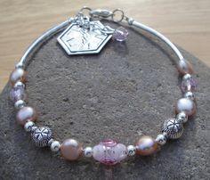 Medical ID Alert Bracelet - Diabetes, Allergies, Seizures, Multiple Sclerosis or Heart - Pink Freshwater Pearls with Lampwork Bead