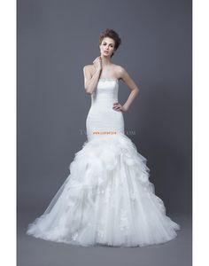trägerloser Ausschnitt Elegant & Luxuriös Tiefe Taille Brautkleider 2014