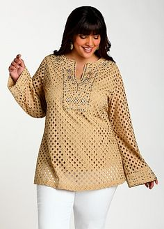 Ashley Stewart: Eyelet plus size Top