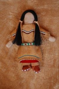 Beaded Native American doll. Muslin doll with deer hide clothing.  #beadwork  $150.00