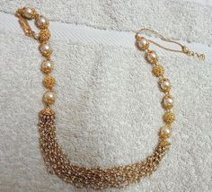 Small Basara Pearls and South Pearls Set - Jewellery Designs India Jewelry, Bead Jewellery, Beaded Jewelry, Beaded Necklace, Pearl Jewelry, Antique Necklace, Temple Jewellery, Ethnic Jewelry, Gold Necklace