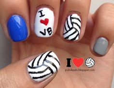 Volleyball Nails <3 We should totally do this!!! @Hallie M Mueller @Trier Craig Saboda @Elizabeth Lockhart DeFrance