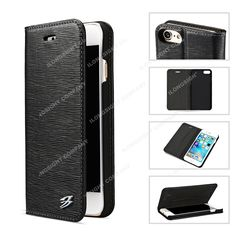Toothpick Pattern Genuine Wallet Leather Case with Card Slot
