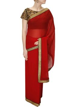 Red border sari with black cutwork blouse by Tisha Saksena. Shop at: www.perniaspopups... #sari #tishasaksena #designer #chic #shopnow #perniaspopupshop #happyshopping.