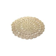 NOVICA Hand Crocheted Decorative Round Beige Doily from India ($30) ❤ liked on Polyvore featuring home, kitchen & dining, table linens, fillers - brown, doilies, beige, homedecor, placemats, tableware & entertaining and ivory placemats