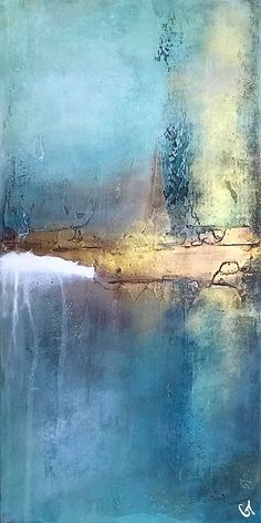 """12"""" x 24"""" This piece exudes a calming elegance. The artwork features muted tones of blue, aqua, teal, plum, gold, and white that complement neutral color palettes. This abstract piece has a tranquil appeal that will enhance any room. Painting is carried over to sides to give it a nice balance when viewed at an angle. Acrylic/mixed media on 1.5"""" deep canvas, signed on back and ready to hang."""