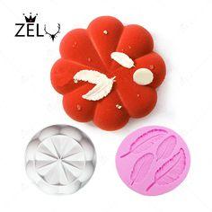 ZELU 2pc Mousse Cake Pan Chrysanthemum Petals Large Garlands Feather Silicone Fondant Doughnut Cake Mold Soap Tool Brownie Ring